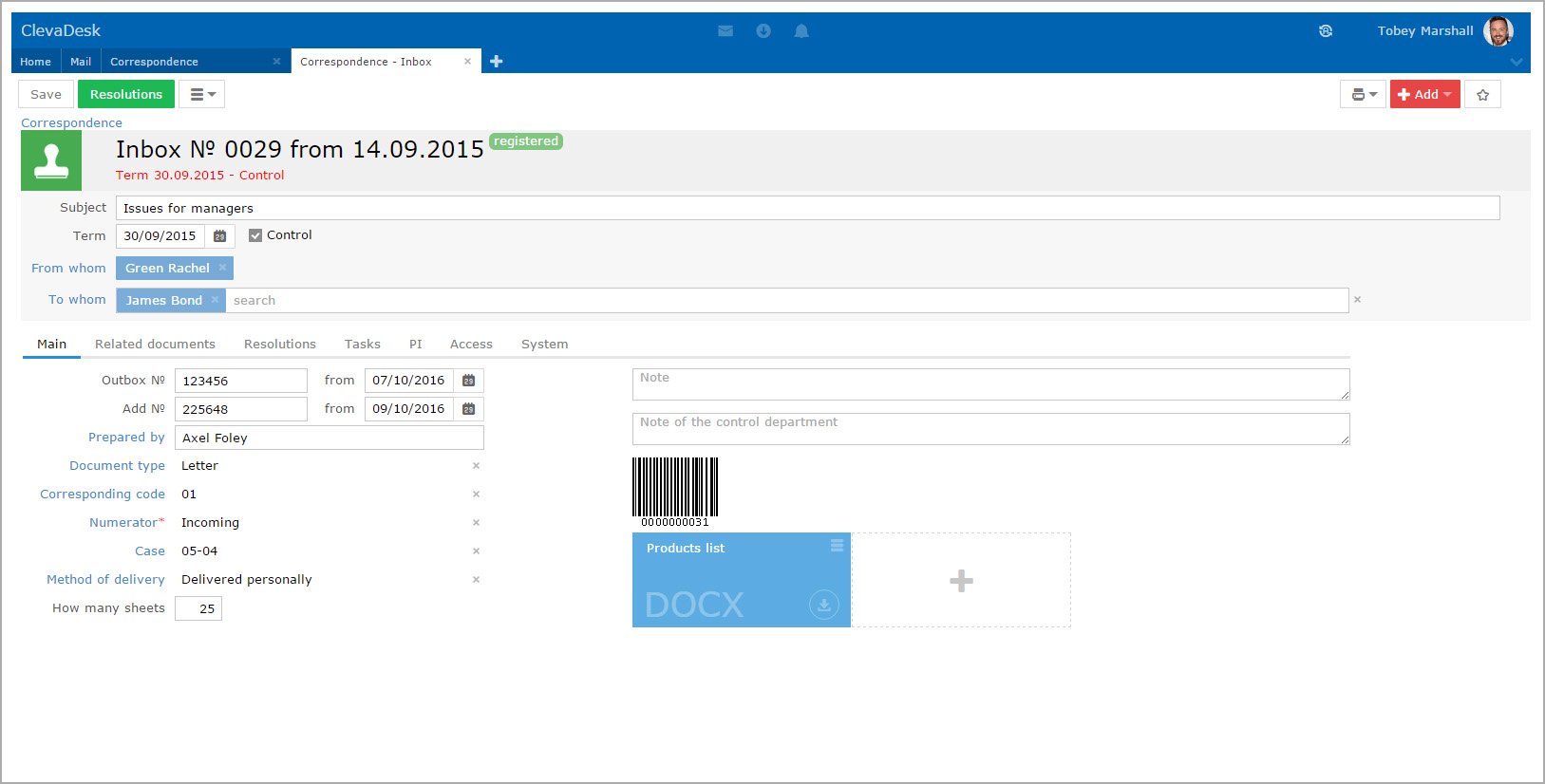 ClevaDesk correspondence application